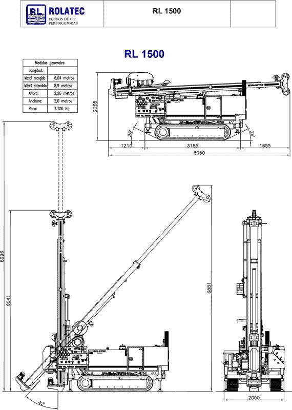 Rolatec RL-1500 Dimensiones y peso